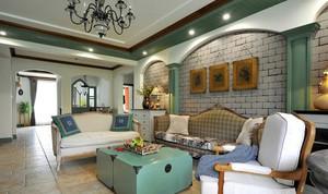 复古风格120平米三居室装修效果图