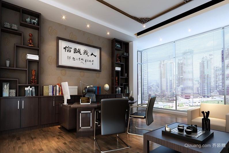 新中式大户型书房博古架装修效果图