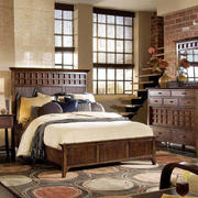复古别墅卧室实木床