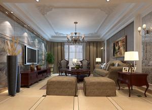 90平米欧式简约复古客厅吊顶装修图
