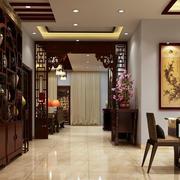 中式老年公寓过道博古架装修效果图