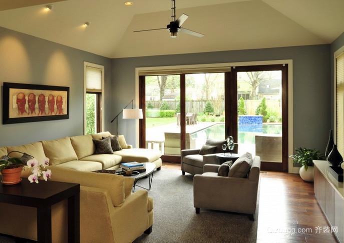 80平米美式简约风格斜顶客厅装修效果图