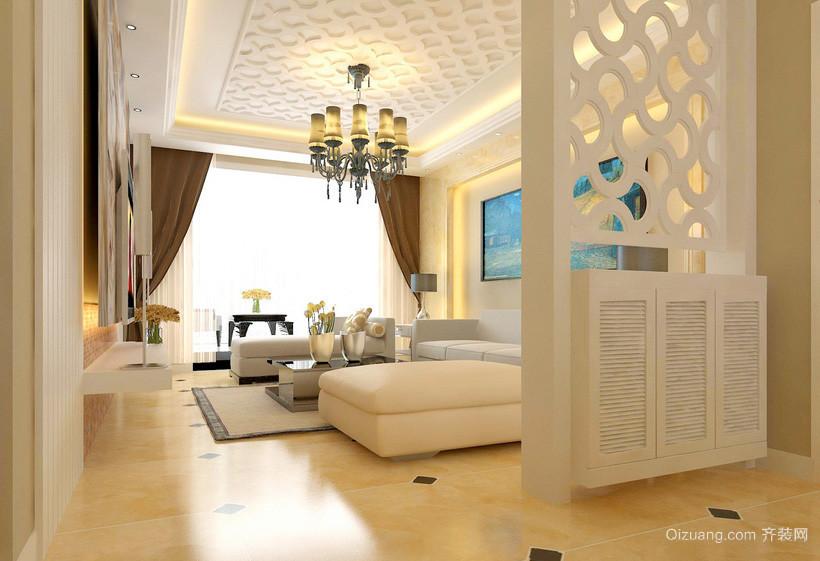 现代米白色家装客厅玄关隔断装修效果图