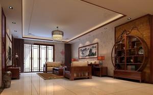 大户型新中式别致客厅博古架装修效果图