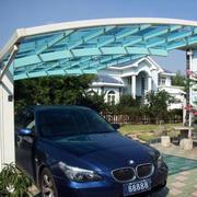 别墅简约风格玻璃车棚挡板
