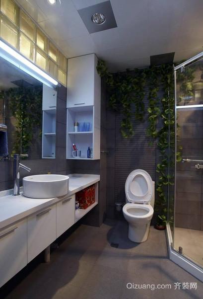 三居室深色调洗手间装修效果图
