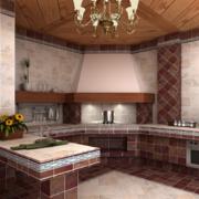 都市小户型宜家开放式厨房装修效果图