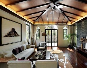 东南亚风格别墅客厅吊顶装修效果图片