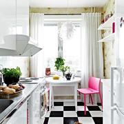 北欧风格白色系清新开放式厨房装修效果图
