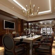 美式简约风格深色餐厅酒柜装饰
