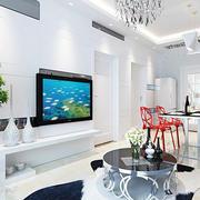 现代化白色系客厅电视背景墙装饰