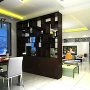新中式120平米客厅背景博古架装修效果图