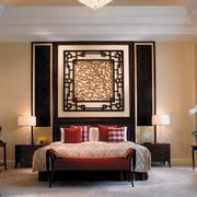 复古中式卧室背景墙
