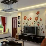 现代简约风格电视墙印花装饰