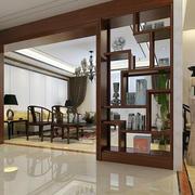 新中式别墅客厅博古架隔断装修效果图