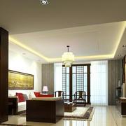 中式大户型客厅玄关博古架装修效果图