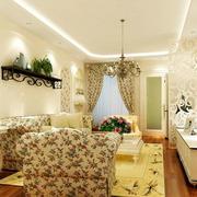 100平米韩式清新田园印花客厅布置效果图