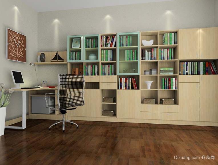 现代唯美的大户型书房书柜装修效果图