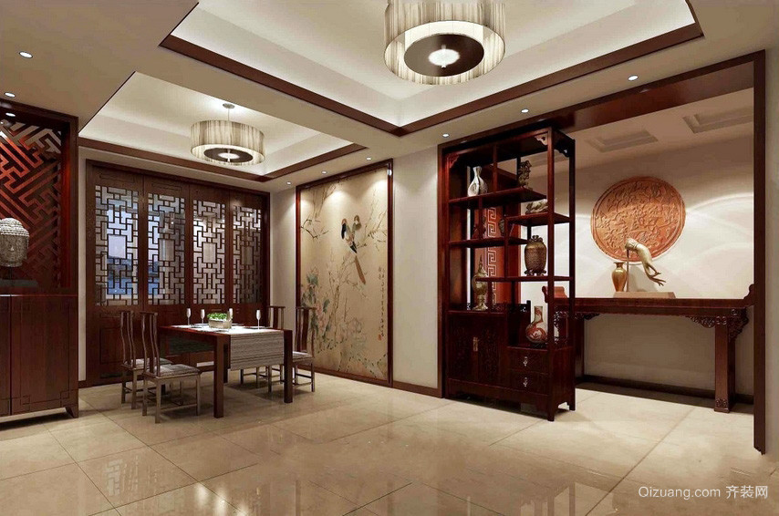 儒雅中式餐厅隔断博古架装修效果图