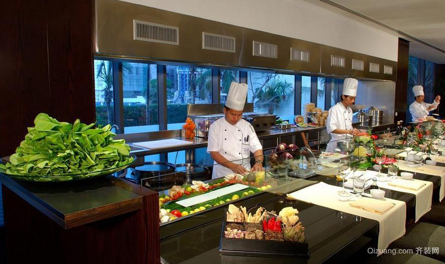 饭店自然风格厨房设计装修效果图