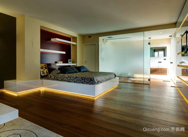 复式楼简约风格卧室原木地板装修效果图