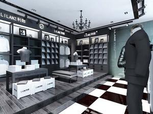 后现代风格经典黑白色男装店装修效果图