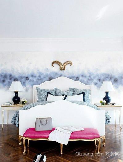 奢华公寓欧式浅色系卧室地板装修效果图