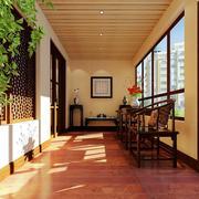 中式风格宽敞家居阳台装修设计效果图
