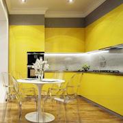 韩式清新风格明黄色系厨房橱柜装修效果图
