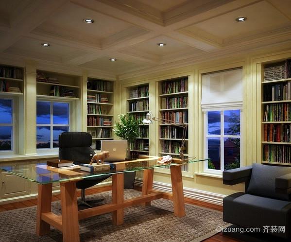 大户型欧式简约风格书房装修效果图
