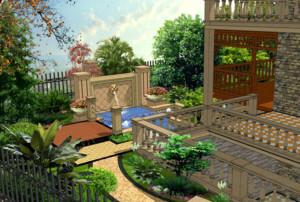 现代欧式别墅庭院设计装修效果图