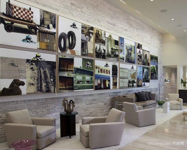 现代欧式大户型客厅照片墙装修效果图