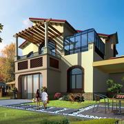 美式简约风格带阳光房别墅外观图设计