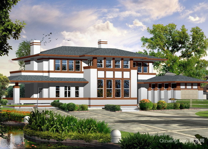 美式简约两层复古别墅外观图装修设计