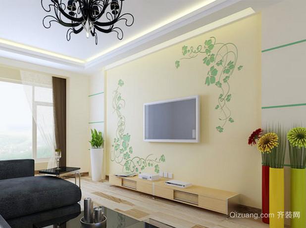 90平米清新风格现代化客厅电视背景墙装修