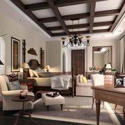 美式深色原木客厅样板房装饰