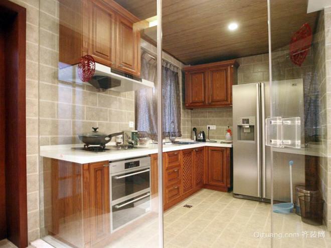 复式楼时尚风格厨房玻璃隔断装修效果图