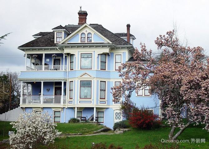 美式大型清新风格别墅外观装修效果图