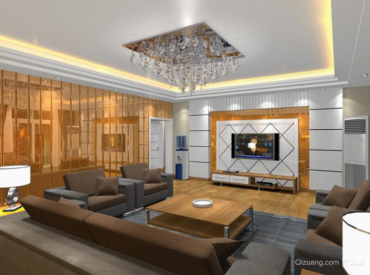现代时尚的欧式大户型电视墙背景装修效果图