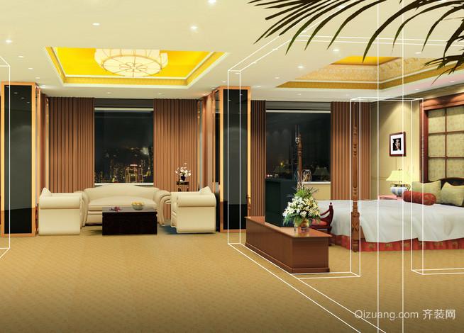 大型欧式简约风格酒店公寓式客房装修效果图