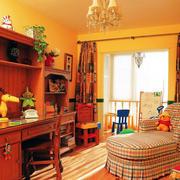 大户型欧式原木深色暖色系书房装修效果图