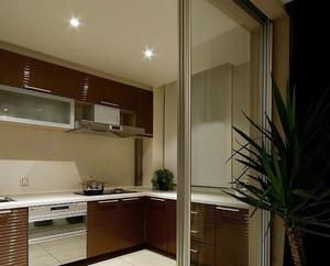 128平米精致型厨房玻璃隔断装修效果图