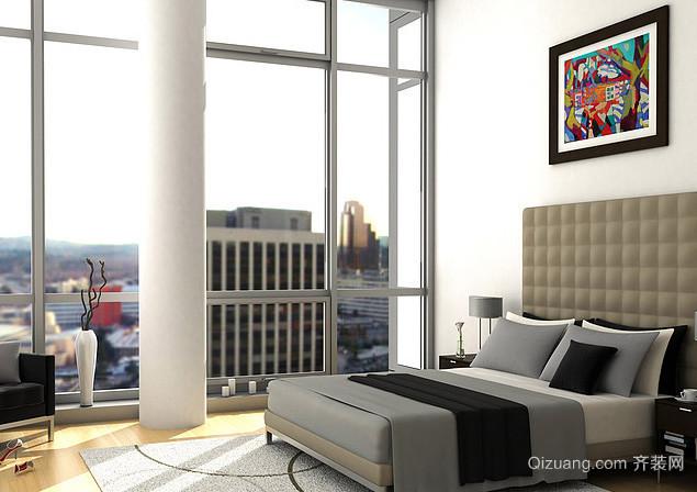 高层小区简约风格单身公寓卧室装修效果图