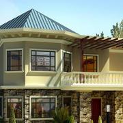 美式尖顶两层简约风格别墅外观图装修效果设计