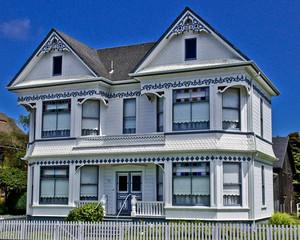 美式简约双拼斜顶别墅装修外观图设计