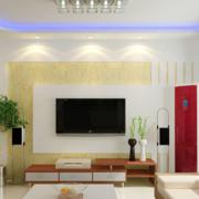 唯美的大户型欧式电视墙设计效果图
