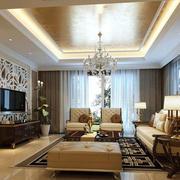 美式奢华风格客厅样板房装饰