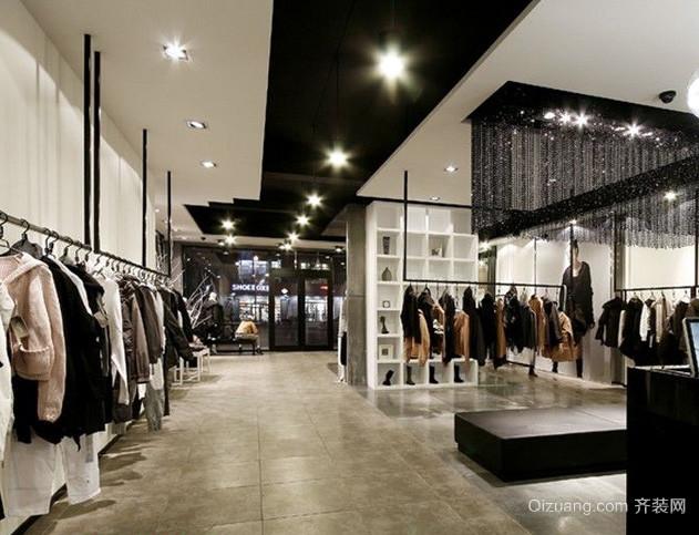 后现代风格深色系大型服装店装修效果图