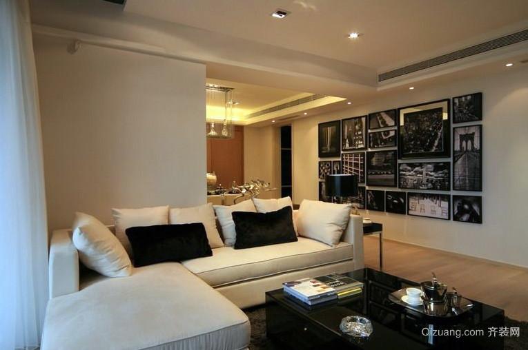 118平米时尚风格现代黑白装饰画效果图片