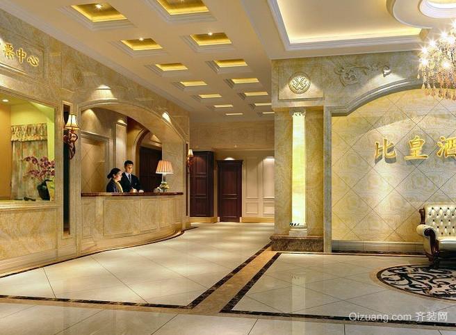 大型简欧风格奢华酒店式公寓柜台装修效果图